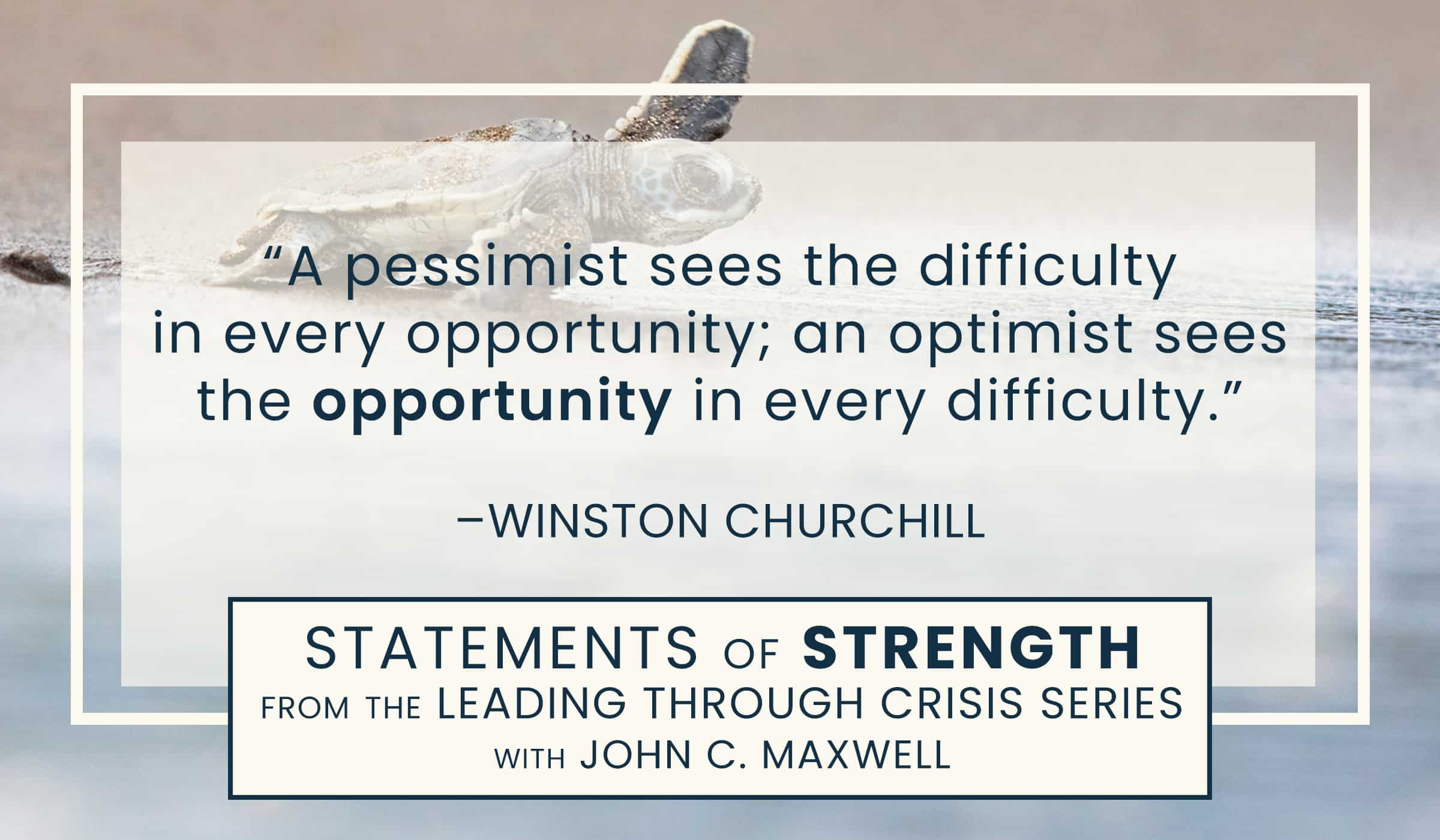 image of quotation picture with text quote of winston churchill about opportunity and difficulties